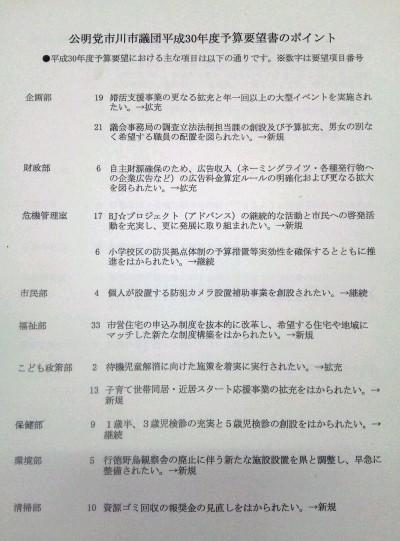 佐藤副市長に平成30年度の予算要望1